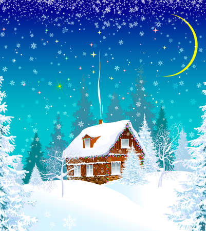 House in a snowy forest, decorated with a garland. Winter Christmas night. Christmas star in the sky. Illustration