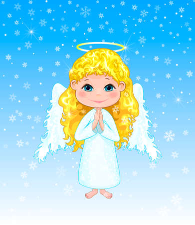 Little angel on a winter background. Angel girl with curls, with wings and a halo.