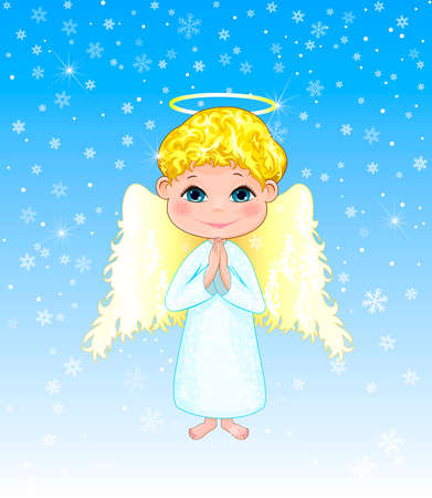 Little angel on a winter background. Angel boy with curls, with wings and a halo. Illustration