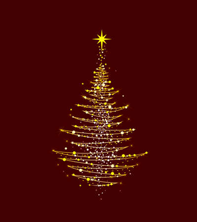 Christmas tree with a star on a dark red background. Abstract Christmas tree for cards for Christmas. 일러스트