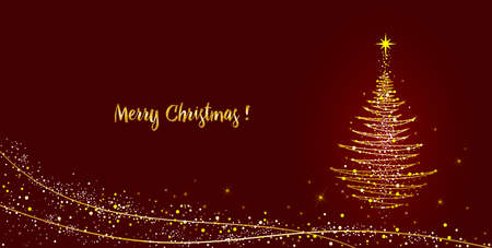 Christmas tree with a star on a dark red background. Abstract lines and shining lights on the herringbone and the text for congratulations on Christmas. 일러스트