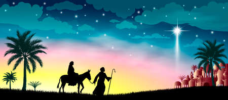 Virgin Mary and Joseph against the background of the Star of Bethlehem. Their journey. Desert, starry sky, city of Bethlehem. The biblical scene on the eve of the birth of Jesus. Christmas.