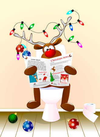 A cartoon deer reading a newspaper sitting on a toilet bowl. The antlers are decorated with Christmas balls and a luminous garland. Holiday Christmas.