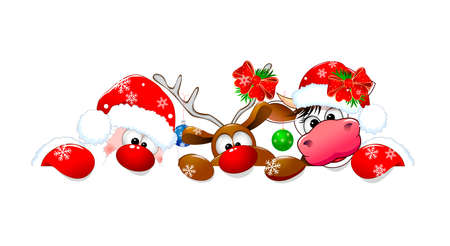 Santa Claus, deer and cow on a white background. Cartoon characters are dressed in a Santa hat and decorated with Christmas decorations.