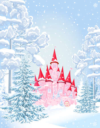 Pink princess castle in the winter snowy forest. Winter snowy night.