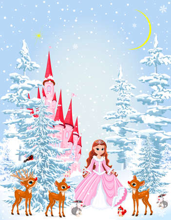 Little princess in a pink dress in the winter forest. Princess with animals on the background of a castle and a snowy forest. Winter snowy night. 일러스트