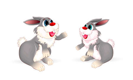 Two cartoon bunny on a white background. Two little bunnies. Rabbit. 일러스트