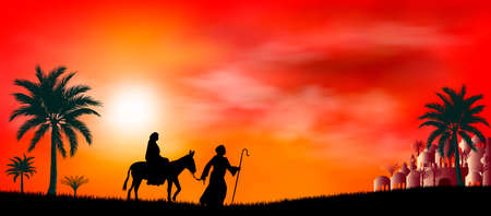 Virgin Mary and Joseph at sunset. Their journey. Desert, sun, city of Bethlehem. Biblical scene on the eve of the birth of Jesus. Christmas.