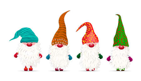 Collection of little gnomes on a white background. Christmas character. Dwarfs with beards and multi-colored hats.
