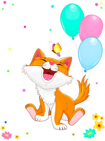 Smiling cartoon kitten sitting next to balloons. Joyful kitty and butterfly.