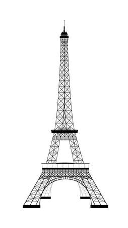 Eiffel Tower on white. Sight. Silhouette of the Eiffel Tower. Vector illustration. 일러스트