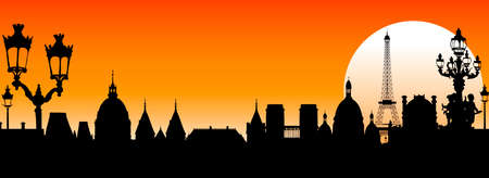 Silhouettes of the ancient architecture of Paris. Paris and its historic landmarks at sunset. Red background.