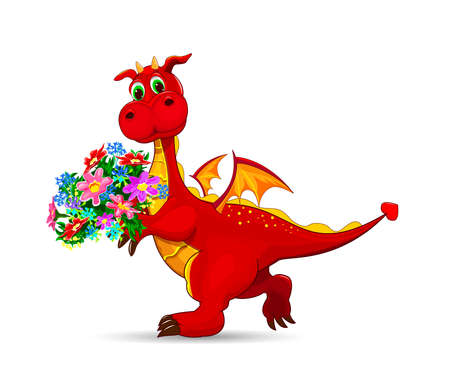 Red cartoon dragon with flowers on a white background.