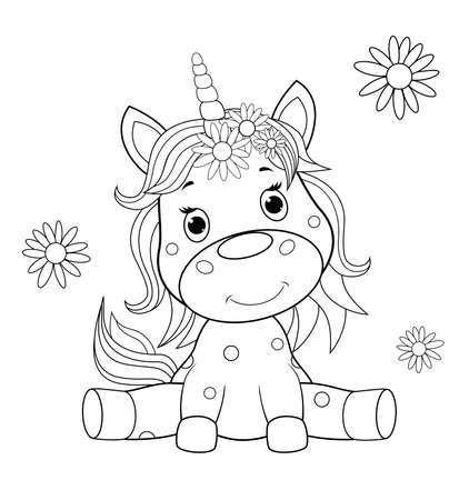 A small sitting unicorn is drawn in black contour lines for children's coloring. Unicorn baby on a white background.
