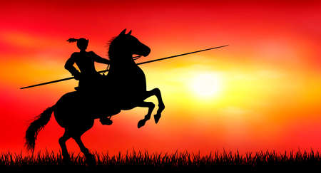 Knight on horseback with a spear. Sunset. The sun. Red background. 일러스트