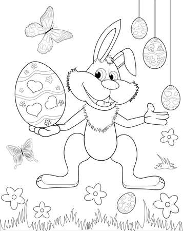 A sketch of an Easter bunny. Easter eggs. Black outlines on a white background. Coloring book for children.