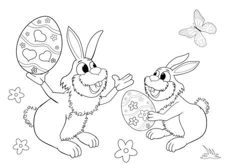 Sketch of two Easter bunnies. Easter eggs. Black outlines on a white background. Coloring book for children.Two little bunnies. 일러스트