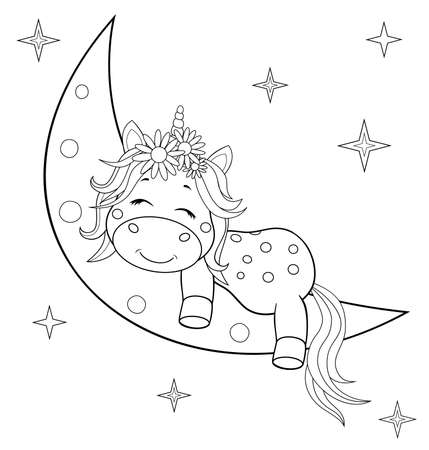 A small unicorn with a mane and tail sleeps on the moon. Sketch in contours for coloring.