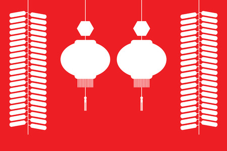 chinese lantern: Chinese lanterns and firecrackers white silhouette on red background.  Vector illustration