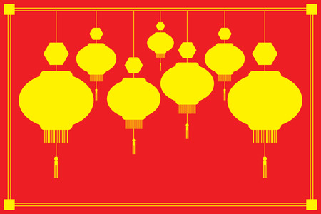 chinese lantern: Chinese Lanterns Vector illustration. Yellow silhouette on red background. Illustration