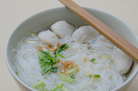 vermicelli: Rice vermicelli noodles with pork balls in soup