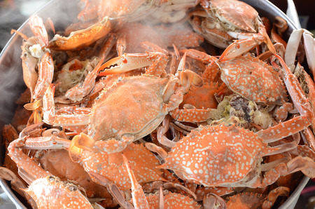 steaming: Fresh Steamed crab in the steaming pot Stock Photo