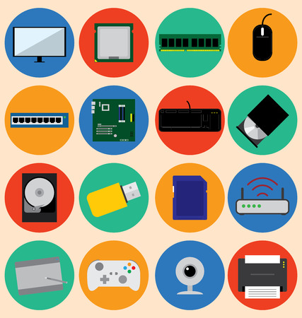 mainboard: Flat Design Style Computer Hardware and Device, Vector Illustration