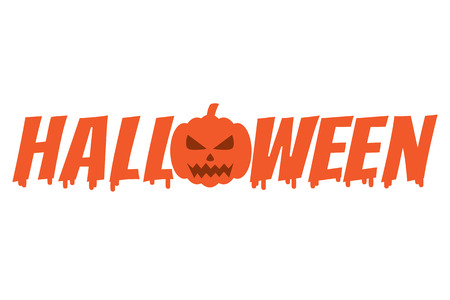 melted halloween word with pumpkin vector illustration royalty free