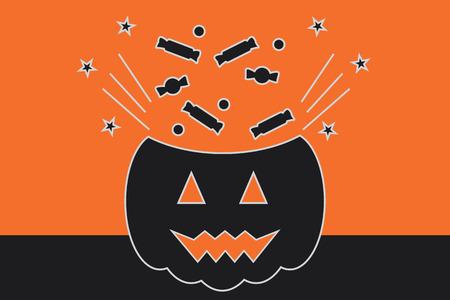 tratar: Halloween Vector Illustration, Trick or Treat Concept