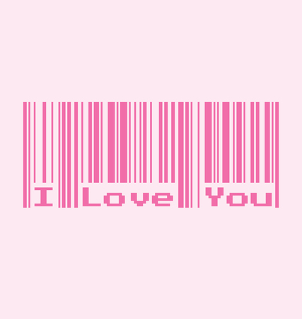 qrcode: I Love You word with Barcode, Vector Illustration Illustration