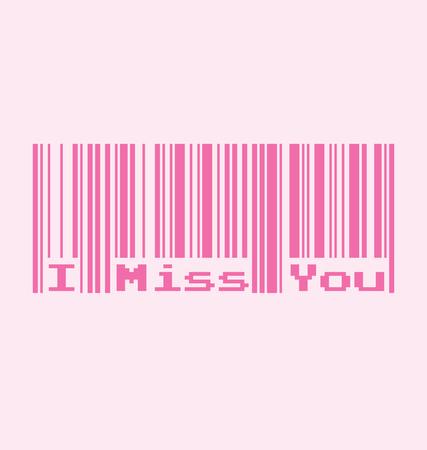 te extra�o: I Miss You palabra con c�digo de barras, ilustraci�n vectorial Vectores