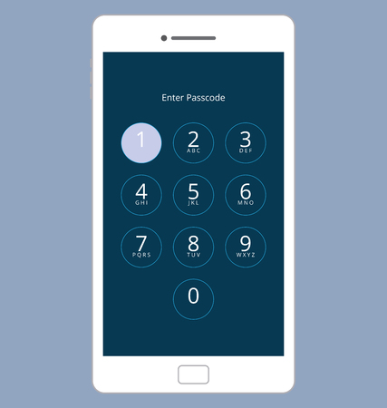 screen: Smartphone Numeric Passcode Lock Screen, Touching on button ONE Illustration