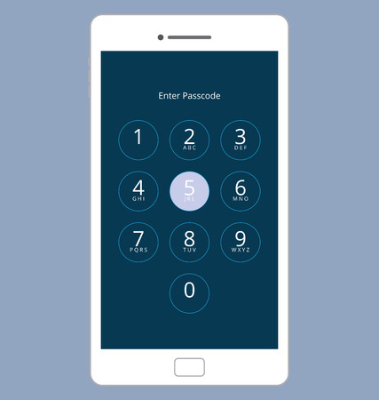 passcode: Smartphone Numeric Passcode Lock Screen, Touching on button FIVE
