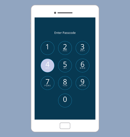 passcode: Smartphone Numeric Passcode Lock Screen, Touching on button FOUR