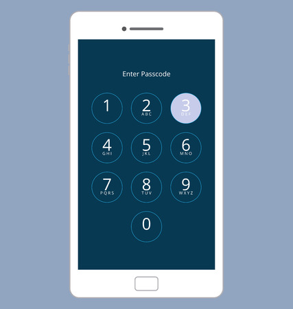 passcode: Smartphone Numeric Passcode Lock Screen, Touching on button THREE Illustration