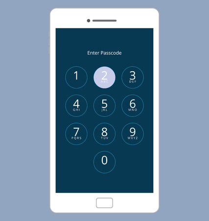 passcode: Smartphone Numeric Passcode Lock Screen, Touching on button TWO Illustration