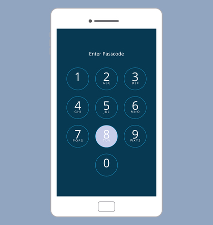 passcode: Smartphone Numeric Passcode Lock Screen, Touching on button EIGHT Illustration