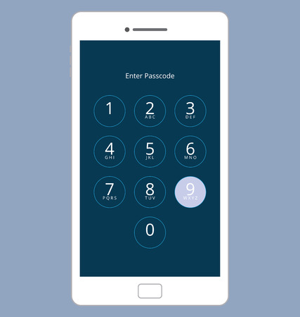 passcode: Smartphone Numeric Passcode Lock Screen, Touching on button NINE