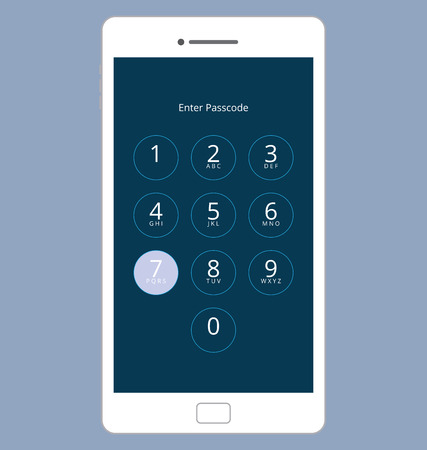 passcode: Smartphone Numeric Passcode Lock Screen, Touching on button SEVEN Illustration