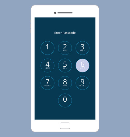 passcode: Smartphone Numeric Passcode Lock Screen, Touching on button SIX