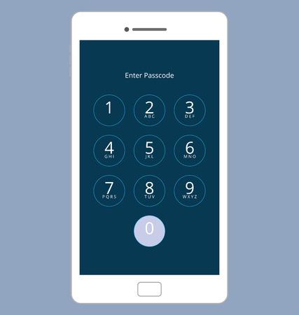 numeric: Smartphone Numeric Passcode Lock Screen, Touching on button ZERO