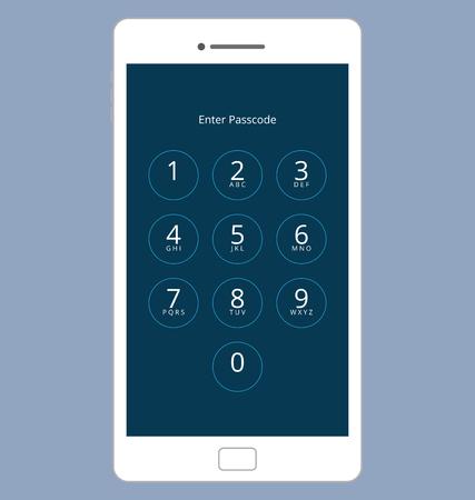 numeric: Smartphone Numeric Passcode Lock Screen Illustration
