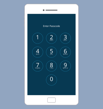 passcode: Smartphone Numeric Passcode Lock Screen Illustration