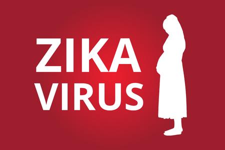 Zika Virus text with pregnant women vector illustration Illustration