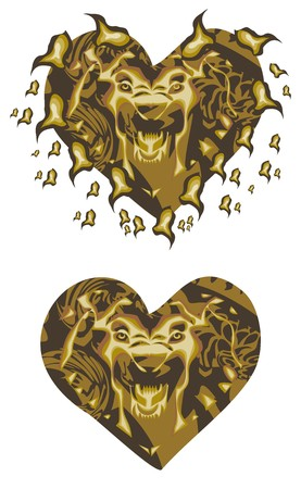 Gold lion heart Vector