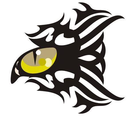 danger: Tribal gatto occhio tatuaggio a forma di pesce Vettoriali