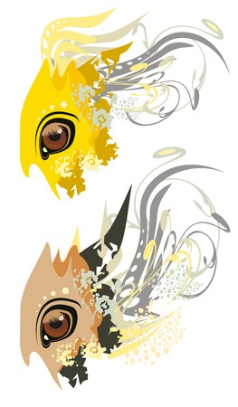 fish form: Vector eye of Arabian bay horse with floral elements