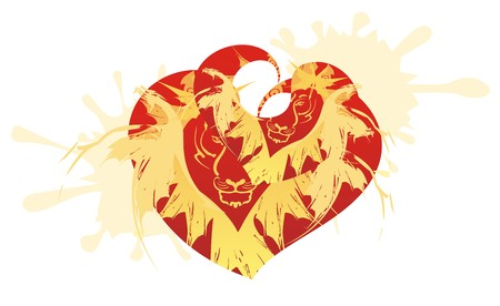 Two twirled hearts with the tiger head, dragons and splashes