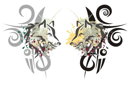 husky: Tribal wolf heads Illustration