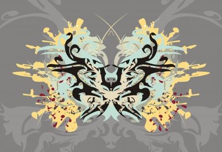 grey background: Mariposa salpicaduras sobre un fondo gris